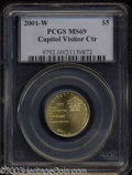 2001-W $5 Capitol Visitor's Center MS69 PCGS. Fully struck and satiny, with radiantly lustrous, untoned surfaces, and no...