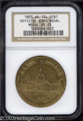 "1893 MS Official Expo Medal XF45 NGC. HK-154, ""Scarce."" Large Letters obverse. An official medal of the 1892-1..."