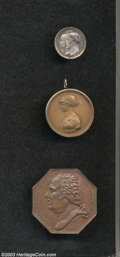 Three Medals. Included are: Louis XVIII Chambre de Commerce de Havre, octagonal, bronze, a well executed medal with even...