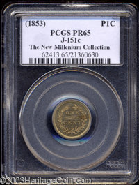 (1853) P1C Cent, Judd-151c, Pollock-179, R.7, PR65 PCGS. Cent patterns were struck in 1853 in an effort to replace the c...