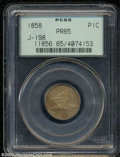 1858 P1C Flying Eagle Cent, Judd-198, Pollock-229, R.6-7, PR65 PCGS. The adopted Flying Eagle cent design with large let...