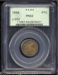 1858 P1C Flying Eagle Cent, Judd-202, Pollock-245-246, R.5-7, PR63 PCGS. The hook-necked eagle obverse, generally attrib...