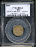 1858 P1C Flying Eagle Cent, Judd-202, Pollock-245, R.5, PR64 PCGS. The hook-necked eagle obverse, generally attributed t...