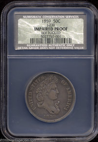 1859 P50C Half Dollar, Judd-239, Pollock-295, R.5, Impaired Proof, Reverse Tooled, NCS. The Longacre design for the half...