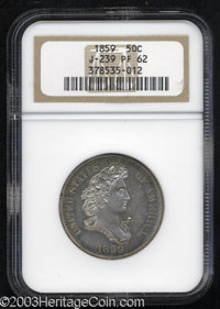 1859 P50C Half Dollar, Judd-239, Pollock-295, R.5, PR62 NGC. The Longacre design for the half dollar that features a bus...