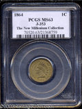 1864 Indian Cent, Judd-353, Pollock-425, R.5(?), MS 63 PCGS. Indian Cent design struck from the regular dies without the...