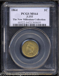 1864 1C One Cent, Judd-355, Pollock-425, R.6(?), MS64 PCGS. Obverse and reverse are both from the regular dies used to c...
