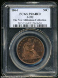 1864 50C Half Dollar, Judd-392, Pollock-460, R.7, PR64 Red PCGS. Struck from the regular obverse die, and paired with th...