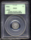 1869 1C One Cent, Judd-666, Pollock-743, R.6, PR63 PCGS. The obverse exhibits a bust of Liberty facing left with the leg...