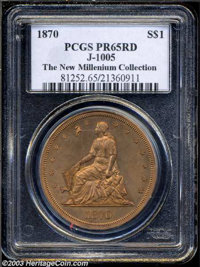 1870 $1 Dollar, Judd-1005, Pollock-1137, R.6, PR65 Red PCGS. The William Barber obverse design that shows Liberty seated...