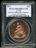 1871 $1 Dollar, Judd-1129, Pollock-1265, R.7, PR64 Cameo Brown PCGS. The obverse depicts Liberty seated, facing left, we...