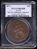 1871 $1 One Dollar, Judd-1148, Pollock-1290, R.6-7, PR64 Red and Brown PCGS. Longacre's design features Liberty seated n...