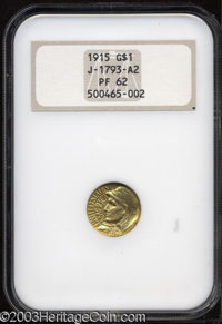 1915 G$1 Panama-Pacific Gold Dollar, Judd-1965 (previously listed as Judd-1793A2), Pollock-2032, 2033, R.7, 8, PR62 NGC...