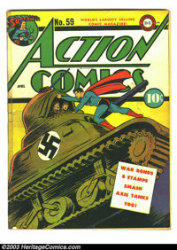 Action Comics #59 (DC, 1947) Condition: GD. Joe Kubert art on Vigilante (first on feature). Tape on cover; cover detache...