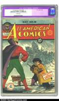 "Golden Age (1938-1955):Superhero, All-American Comics #38 (DC, 1942) CGC Apparent VF/NM 9.0 Slight (P) Off-white pages. CGC notes ""Restoration include: cover ..."