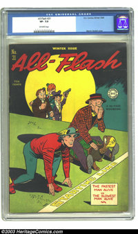 All-Flash #21 (DC, 1945) CGC VF- 7.5 Off-white pages. Martin Nodell cover. Overstreet 2003 VF 8.0 value = $381