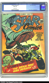 All Star Comics #17 (DC, 1943) CGC VF- 7.5 Off-white pages. The Justice Society of America; art by Joe Simon and Jack Ki...