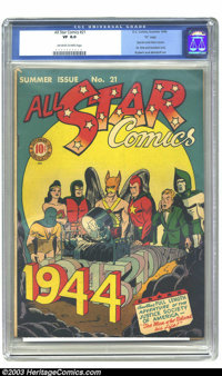 """All Star Comics #21 """"D"""" Copy pedigree (DC, 1944) CGC VF 8.0 Off-white to white pages. The Spectre and Atom cam..."""