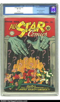 All Star Comics #23 (DC, 1944) CGC VF- 7.5 White pages. Justice Society of America; origin and first appearance Psycho P...