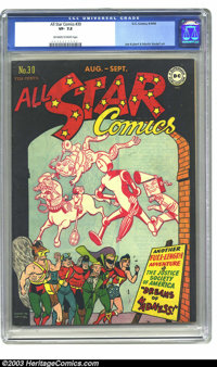 All Star Comics #30 (DC, 1946) CGC VF- 7.5 Off-white pages. The Justice Society of America; Joe Kubert and Martin Nodell...