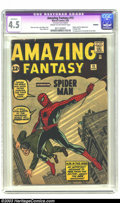 Silver Age (1956-1969):Superhero, Amazing Fantasy #15 (Marvel, 1962) CGC Apparent VG+ 4.5 Cream to off-white pages. A dying comic introduces a new hero. Origi...