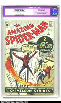 Amazing Spider-Man #1 (Marvel, 1963) CGC Apparent VF+ 8.5 Off-white pages, Cover Trimmed. Art by Jack Kirby and Steve Di...