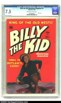 "Billy the Kid Adventure Magazine #2 (Toby Publishing, 1950) CGC VF- 7.5 Off-white to white pages. ""Thrill to the Ou..."