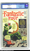 Silver Age (1956-1969):Superhero, Fantastic Four #1 (Marvel, 1961) CGC VF 8.0 Off-white pages. The Marvel Age of Comics begins right here! Origin and first ap...