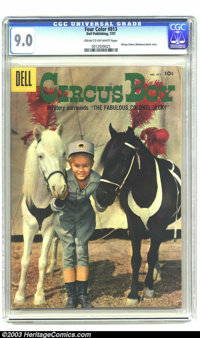 Four Color #813 Circus Boy (Dell, 1957) CGC VF/NM 9.0 Cream to off-white pages. Future Monkee Mickey Dolenz poses with a...