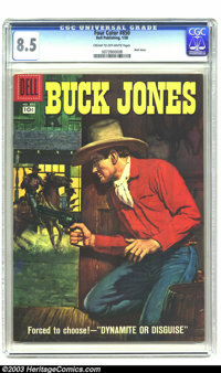 Four Color #850 Buck Jones (Dell, 1958) CGC VF+ 8.5 Cream to off-white pages. This comic stars the cowboy-gunfighter Buc...