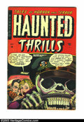 Golden Age (1938-1955):Horror, Haunted Thrills #13 (Farrell, 1954) Condition: FN. Great skeletoncover from an under-rated publisher. Overstreet 2003 FN 6....