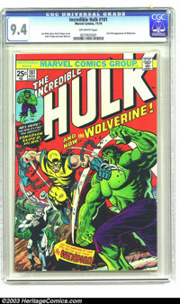 The Incredible Hulk #181 (Marvel, 1974) CGC NM 9.4 Off-white pages. First full appearance of Wolverine. Overstreet 2003...