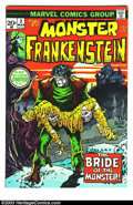 Bronze Age (1970-1979):Horror, The Monster of Frankenstein #2 (Marvel, 1973) Condition: NM. MikePloog cover and art. Overstreet 2003 NM 9.4 value = $35....
