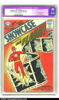 Showcase #4 Flash (DC, 1956) CGC Apparent VF- 7.5 Moderate (A) Cream to off-white pages. Origin and first appearance of...