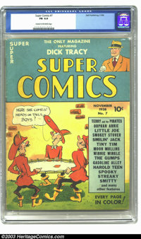 Super Comics #7 (Dell, 1938) CGC FN 6.0 Cream to off-white pages. Highest graded copy. Overstreet 2003 FN 6.0 value = $1...