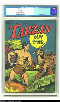 Tarzan #1 (Dell, 1948) CGC VF 8.0 Light tan to off-white pages. Jesse Marsh cover and interior art. Nice copy of the fir...