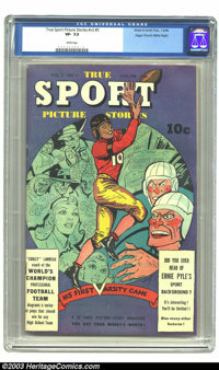 True Sport Picture Stories V3#5 Mile High pedigree (Street & Smith, 1946) CGC VF- 7.5 White pages. A very well-prese...