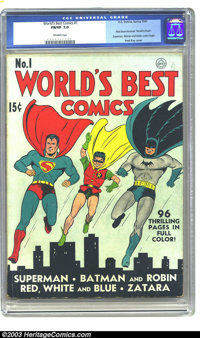 World's Best Comics #1 (DC, 1941) CGC FN/VF 7.0 Off-white pages. The title would change to World's Finest Comics with th...