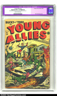 Young Allies Comics #14 (Timely, 1944) CGC Apparent VG+ 4.5 Slight (A) Cream to off-white pages. This wondrous war cover...