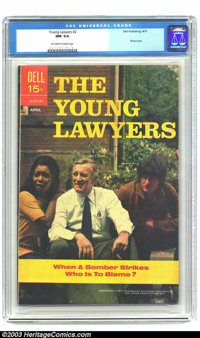 Young Lawyers #2 (Dell, 1971) CGC NM 9.4 Off-white to white pages. Photo cover, featuring Judy Pace, Lee J. Cobb, and Za...