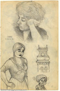 Original Comic Art:Sketches, Robert Crumb - Original Sketches: Mabel, Connie, and More (1961). Nice two-sided page from one of Crumb's early sketchbooks;...