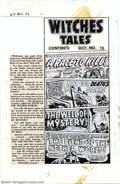 Original Comic Art:Miscellaneous, Production Art for Witches Tales #15 Contents Page (All Stats)(Harvey, 1952). This fun piece of history is the production a...