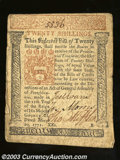 Colonial Notes:Pennsylvania, March 20, 1771, 20s, Plate B, Pennsylvania, PA-149, XF. This ...