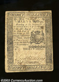 Colonial Notes:Pennsylvania, December 8, 1775, 30s, Pennsylvania, PA-195, Fine+. A small ...