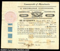 Stocks and Bonds:Certificates with Significant Autographs, Henry Dearborn - A Republican Institution (Massachusetts)