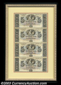 Obsoletes By State:Louisiana, 18__ $5-$5-$5-$5 Uncut Sheet of Four, The Citizens' Bank of ...
