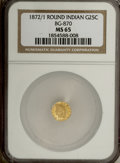 California Fractional Gold, 1872/1 25C Indian Round 25 Cents, BG-870, R.3, MS65 NGC....