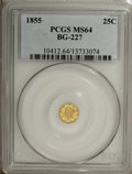 California Fractional Gold, 1855 25C Liberty Round 25 Cents, BG-227, R.6, MS64 PCGS....