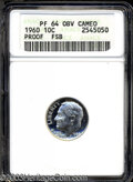 Proof Roosevelt Dimes: , 1960 PR64 Obverse Cameo Full Bands ANACS....