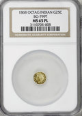 California Fractional Gold, 1868 25C Indian Octagonal 25 Cents, BG-799T MS65 Prooflike NGC....